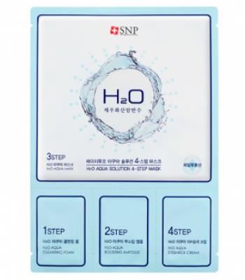 4-ступенчатая увлажняющая маска для лица SNP H2O Aqua solution 4-step mask: фото