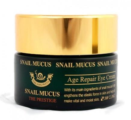 Крем для век восстанавливающий с секретом улитки 3W CLINIC Snail mucus age intensive eye cream 30мл: фото
