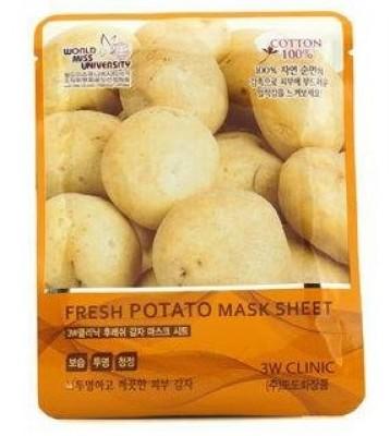 Тканевая маска с экстрактом картофеля 3W CLINIC Fresh mask sheet potato 23мл: фото
