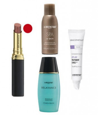Набор в тубе La Biosthetique Beauty Box Пятница: True Color Lipstick Red 2,1 г, Des Yeux 25 мл, Treatment Levres 15 мл, Le Bain Spa 60 мл: фото