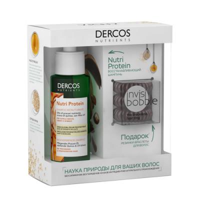 Набор Vichy Dercos Nutrients: Восстанавливающий шампунь 100мл + Резинка-браслет для волос Invisibobble 3 шт: фото