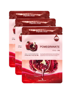Маска с экстрактом граната FARMSTAY POMEGRANATE VISIBLE DIFFERENCE MASK SHEET 23мл*3 шт: фото