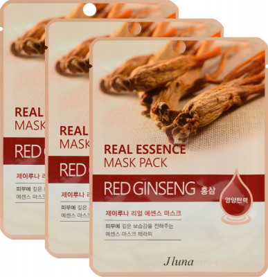 Тканевая маска с красным женьшенем JUNO Real essence mask pack red ginseng 25мл*3 шт: фото