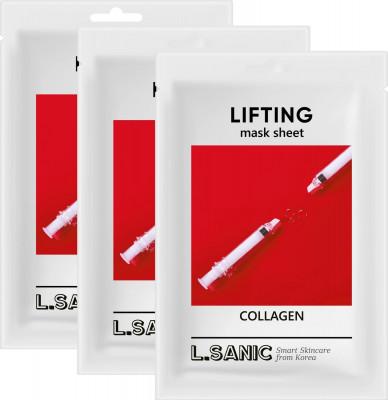 Коллагеновая тканевая маска с эффектом лифтинга L.SANIC COLLAGEN LIFTING MASK SHEET 25мл*3шт: фото