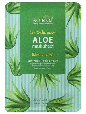 Маска тканевая успокаивающая с алоэ Soleaf So Delicious Aloe Mask Sheet 25 мл: фото