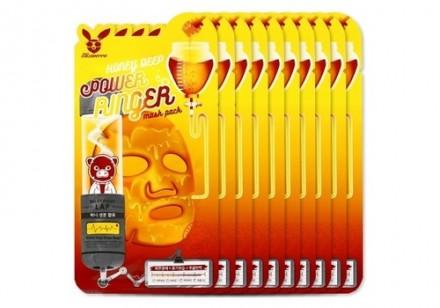НАБОР Тканевых масок Медовая Elizavecca Honey DEEP POWER Ringer mask pack 23мл*10шт: фото