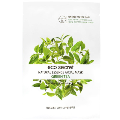 Тканевая маска для лица с Зеленым чаем Eco Secret Natural Essence Facial Mask Green Tea 20 мл: фото