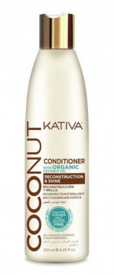Восстанавливающий кондиционер с органическим кокосовым маслом для поврежденных волос Kativa Coconut 250мл: фото