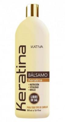 Укрепляющий бальзам-кондиционер с кератином для всех типов волос Kativa KERATINA 500мл: фото